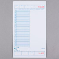 Choice 1 Part Blue and White Guest Check with Note Space, Beverage Lines, and Bottom Guest Receipt - 500/Pack