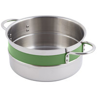 Bon Chef 62303NC Classic Country French Collection 5.7 Qt. Green Single Wall 1/2 Color Pot with Riveted Handles