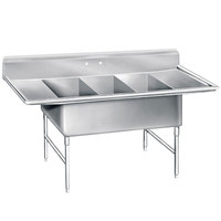 Advance Tabco K7-3-3030-24RL 16 Gauge Three Compartment Stainless Steel Super Size Sink with Two Drainboards - 138 inch