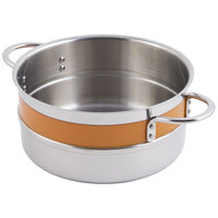 Bon Chef 62303NC Classic Country French Collection 5.7 Qt. Orange Single Wall 1/2 Color Pot with Riveted Handles