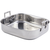 Bon Chef 60010CLDHF Cucina 10 Qt. Hammered Finish Stainless Steel Roasting Pan with Handles and Induction Bottom - 16 3/8 inch x 14 1/16 inch x 4 inch