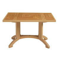 Grosfillex CT645008 Atlantis 48 inch x 32 inch Teakwood Resin Pedestal Table with Umbrella Hole