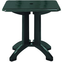 Grosfillex US810078 Vega 32 inch Square Resin Folding Outdoor Table with Umbrella Hole - Amazon Green Base   - 12/Case