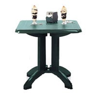 Grosfillex US810078 Vega 32 inch Square Resin Folding Outdoor Table - Amazon Green Base