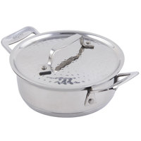 Bon Chef 60027HF Cucina 36 oz. Hammered Finish Stainless Steel Round Dish with Lid