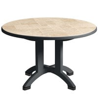 Grosfillex US700002 Siena 38 inch Round Resin Folding Outdoor Table with Umbrella Hole - Charcoal Base