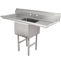 Advance Tabco FC-1-2424-18RL One Compartment Stainless Steel Commercial Sink with Two Drainboards - 60 inch