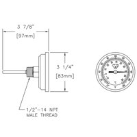 T&S 003799-45 4 inch 0 to 200 Degrees Fahrenheit Thermometer with 1/2 inch-14 NPT Connections