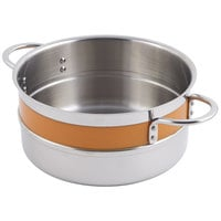 Bon Chef 62302NC Classic Country French Collection 4.3 Qt. Orange Single Wall 1/2 Color Pot with Riveted Handles