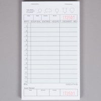 Choice 1 Part Green and White Guest Check with Beverage Lines and Bottom Guest Receipt - 10/Pack