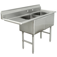 Advance Tabco FC-2-1824-18 Two Compartment Stainless Steel Commercial Sink with One Drainboard - 56 1/2 inch