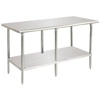 16 Gauge Advance Tabco MS-2410 24 inch x 120 inch Stainless Steel Commercial Work Table with Stainless Steel Undershelf - Type 304