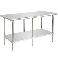 Advance Tabco MS-2410 24 inch x 120 inch 16 Gauge Stainless Steel Commercial Work Table with Stainless Steel Undershelf