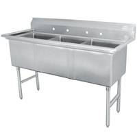 Advance Tabco FC-3-2424 Three Compartment Stainless Steel Commercial Sink - 77 inch