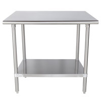 Advance Tabco MS-243 24 inch x 36 inch 16 Gauge Stainless Steel Commercial Work Table with Stainless Steel Undershelf