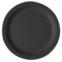 Cambro 65CWNR110 Camwear 6 1/2 inch Black Polycarbonate Narrow Rim Plate - 48/Case
