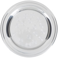 14 inch Stainless Steel Serving / Display Tray with Swirl Pattern - Wide Rim