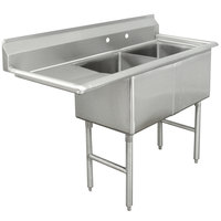 Advance Tabco FC-2-2424-24 Two Compartment Stainless Steel Commercial Sink with One Drainboard - 74 1/2 inch