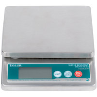 Taylor TE10CSW 10 lb. Water Resistant Digital Portion Control Scale for Dry and Liquid Measuring