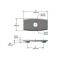 T&S 013824-40 Chrome Plated Deck Plate with 4 inch Centers and Vandal Resistant Notch