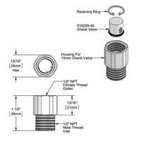 T&S 015073-40 Valve Check Adapter with Valve and Retaining Ring