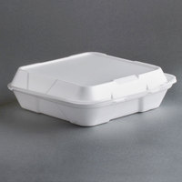 Genpak SN202 9 inch x 9 inch x 3 inch White Foam 2 Compartment Hinged Lid Container 200/Case