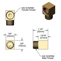 T&S 015345-20 Low Profile Elbow with 3/8-18 NPSM Male and Female Connections