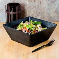 American Metalcraft FSMEL94 Endurance 125 oz. Square Melamine Serving Bowl - Black Faux Slate