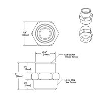 T&S 016061-25 Adapter with 9/16-24 UN Female and 1/2-14 NPSM Male Connections