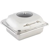 Bon Chef 20301 3.5 Qt. Small Square Stainless Steel Mini Induction Chafer with Glass Lid