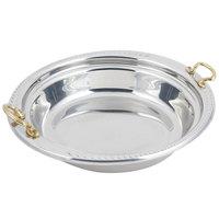 Bon Chef 5455HR 13 inch x 12 inch x 3 inch Stainless Steel 2.5 Qt. Casserole Laurel Design Food Pan with Round Brass Handles