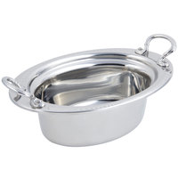 Bon Chef 5403HRSS 13 inch x 9 inch x 5 inch Stainless Steel 3.75 Qt Full Size Oval Laurel Design Food Pan with Round Stainless Steel Handles