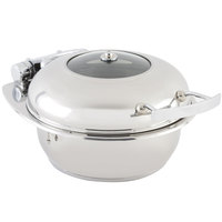 Bon Chef 20303 2 Qt. Small Round Stainless Steel Mini Induction Chafer with Glass Lid