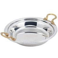 Bon Chef 5355HR 13 inch x 12 inch x 3 inch Stainless Steel 2.5 Qt. Bolero Design Casserole Food Pan with Round Brass Handles