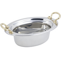Bon Chef 5303HR 13 inch x 9 inch x 5 inch Stainless Steel 3.75 Qt. Full Size Oval Bolero Design Food Pan with Round Brass Handles