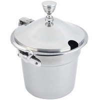 Bon Chef 5311CHRSS 10 5/8 inch x 8 1/4 inch Stainless Steel 7 Qt. Bolero Design Soup Tureen with Chrome Accents and Round Stainless Steel Handles