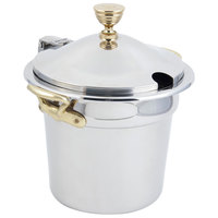 Bon Chef 5211WHCHR 10 5/8 inch x 8 1/4 inch Stainless Steel 7 Qt. Plain Design Soup Tureen with Hinged Cover and Round Brass Handles
