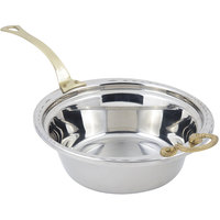 Bon Chef 5656HL 13 inch x 12 inch x 4 inch Stainless Steel 4 Qt. Arches Design Casserole Food Pan with Long Brass Handle