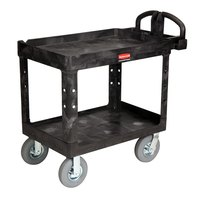 Rubbermaid FG452010BLA Black Medium Heavy Duty Two Shelf Utility Cart with Lipped Shelf and Pneumatic Casters