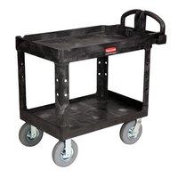 Rubbermaid FG452010BLA Black Medium Lipped Heavy Duty Two Shelf Utility Cart with Ergonomic Handle and 8 inch Pneumatic Casters