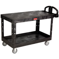Rubbermaid FG454500BLA Black Large Two Flat Shelf Utility Cart