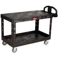 Rubbermaid FG454500BLA Black Large Flat Two Flat Shelf Utility Cart with Ergonomic Handle