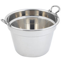 Bon Chef 5214HRSS 12 inch x 8 inch Stainless Steel 11 Qt. Plain Design Soup Inset with Round Stainless Steel Handles