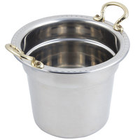 Bon Chef 5611HR 10 5/8 inch x 8 1/4 inch Stainless Steel 7 Qt. Arches Design Soup Tureen with Round Brass Handles