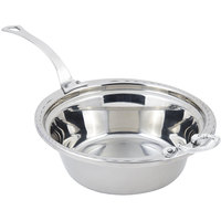 Bon Chef 5656HLSS 13 inch x 12 inch x 4 inch Stainless Steel 4 Qt. Arches Design Casserole Food Pan with Long Stainless Steel Handle