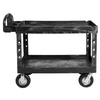 Rubbermaid FG454610BLA Black Large Lipped Heavy Duty Two Shelf Utility Cart with Ergonimic Handle and 8 inch Pneumatic Casters