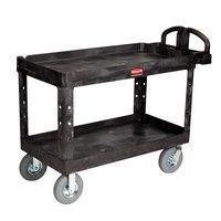 Rubbermaid FG454610BLA Black Large Heavy Duty Two Shelf Utility Cart with Lipped Shelf and Pneumatic Wheels