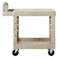 Rubbermaid FG450500BEIG Beige Small Flat Two Shelf Utility Cart with Ergoomic Handle