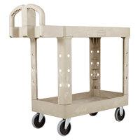 Rubbermaid FG450500BEIG Beige Small Flat Two Shelf Utility Cart with Ergonomic Handle