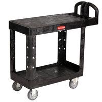 Rubbermaid FG450500BLA Black Small Two Flat Shelf Utility Cart